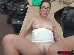 A hot French babe Charlie Harper sucks cock in the pawnshop