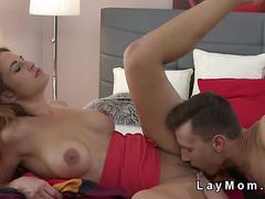Hot busty mom bangs young big dick