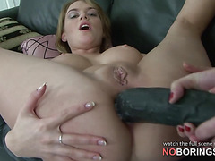 Lori's ass filled with brutal strapon