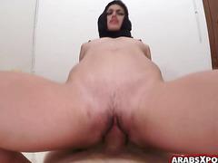 Muslim arab woman cries out loud as she rides a massive cock