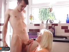 AgedLove Blonde big breasted woman is sucking cock