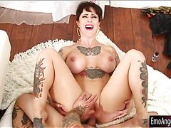 Big tits tattooed pornstar gets her tight asshole slammed