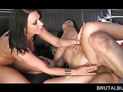 Slutty brunettes sharing dick in sex bus 3some