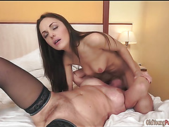Russian Dominica Fox eats and fingers granny Sally G's pussy
