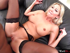 Stunning Blonde Whore Rides Fat Black Cock