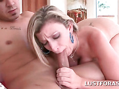 Busty MILF choking on monster hard cock