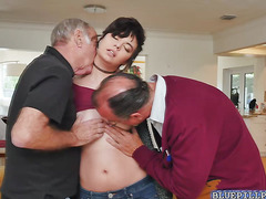Christine taking two old cocks at once for threesome