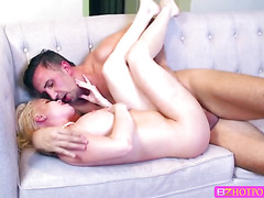 Horny sexy slut Nikki Delano gets her wet pussy banged at the office table