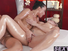 Hot babes Brittany and Anna indulge in an intense pussy play