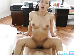 Adorable and horny Emily Mena practices to ride a bike and gets fucked