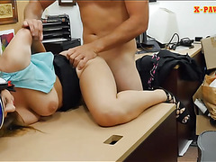 Busty woman pawns her twat and pounded by pawn dude
