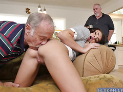 Glenn stuff his old cock on Amys sweet pussy