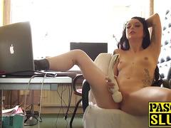 Horny British amateur Alessa Savage masturbating with a toy
