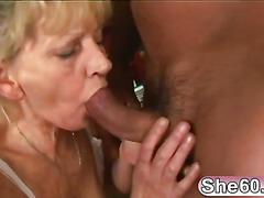 Blonde granny sucks and fucks a big hard cock