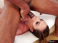 Busty milf throats black dick in amazing modes during threesome