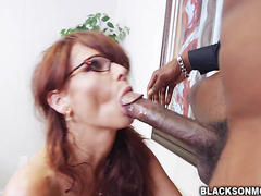 Cougar Syren De Mer goes wild on two giant cocks