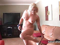 Voluptuous MILF sucking dick in the kitchen