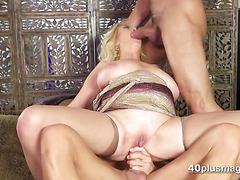 Granny Blonde Sherron Takes Two Hot Studs