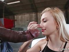 Blonde hottie deep throating giant black cock