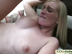 College babes sigh and moan while getting pussies stretched by large dicks