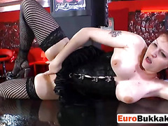 Redhead European slut gets fucked and sexys piss