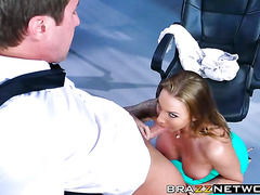 Busty Juelz Ventura sucks the dudes cock off in the office