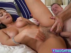 Slutty daughter Charlotte Cross screams while having yet another orgasm
