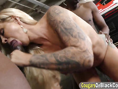 Slutty MILF Ryan Conner fully stretched by two monstrous BBCs