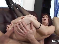 Slutty beauty spreads her quim and enjoys hardcore sex