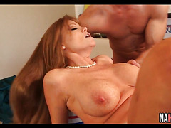 Big Tits MILF Sucks And Fucks Two Young Cocks Threesome Darla Crane