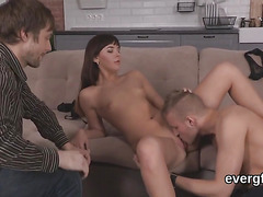 Penniless fellow allows kinky mate to bang his girlfriend for bucks