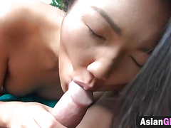Slender Asian Babe Grind Dildo and Real Dick