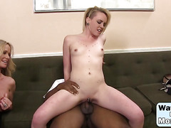 Simone Sonay and Miley Mae sucking one shared big black cock