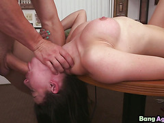 Geeky Young Brunette Kymberlee Anne Gags On Dick Before Getting Fucked On Desk