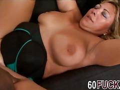 Curvy blonde granny trying big black cock