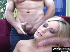 Blonde is gangbanged in room