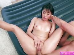 Beautiful brunette Asian babe Ayumu sucks Keirans huge cock