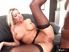Tempting blonde MILF with amazing tits slammed hard by BBC in her ass
