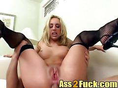 Nasty good looking blonde slut banged hard by three guys