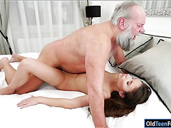 Hungarian Anita Bellini sucks grandpa before fucked for cum