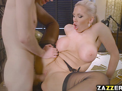 Rebecca can't resit the urge to suck her boss' monster cock