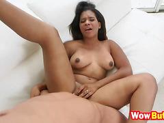 Tempting ebony babe TiffanyTaner got her pussy slammed hard