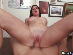 Teen Kymberlee riding agent big rod on floor