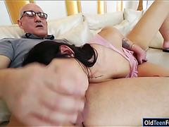 Hottie Loren Minardi gives bj licked and ride on senior cock