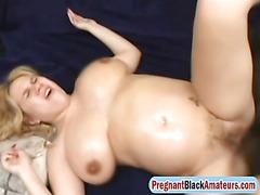 Du of stiff shafts for pregnant slut in threesome