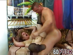 Dirty granny with big body sucks Frank Tyler's dick and gets fucked