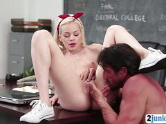 Horny slut seduces her teacher to get what she wants