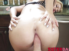 Hot blonde babe Kenzie Green drilled hard from behind