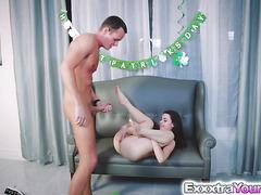 Tiny babe Lucie Cline fucks a massive cock