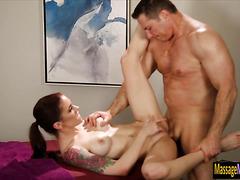 Sexy masseuse Anna Deville pounded hard on massage table